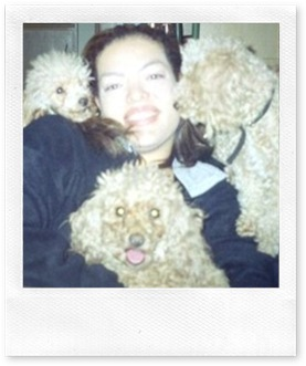Rache with her beloved poodles