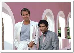 "MIAMI VICE -- Sleuth Series -- Pictured: (l-r) Don Johnson as Det. John ""Sonny"" Crockett, Philip Michael Thomas as Det. Ricardo Tubbs -- Sleuth Photo: Frank Carroll"